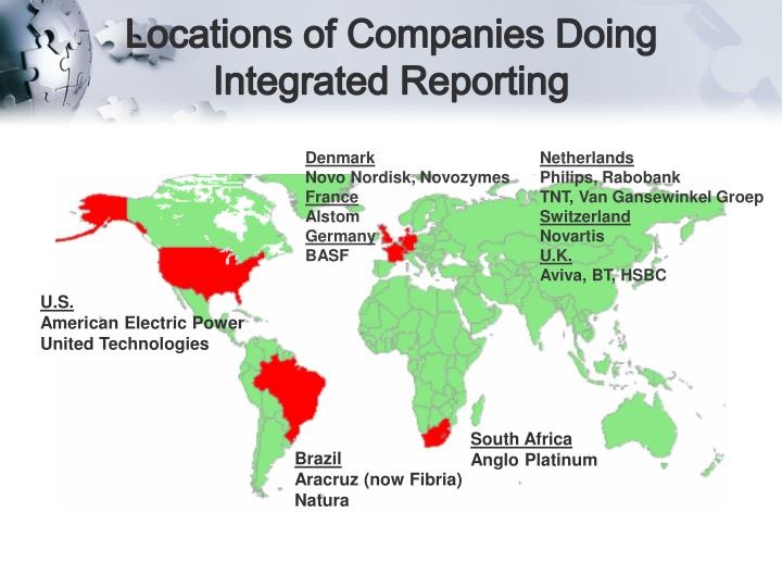 Locations of Companies Doing Integrated Reporting