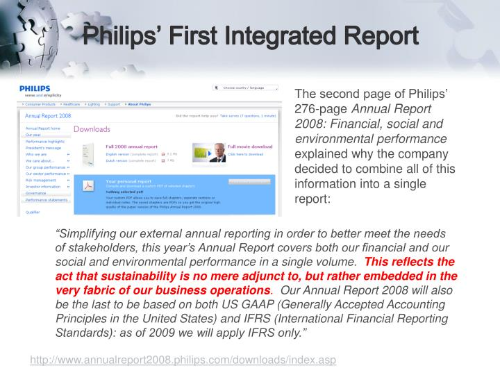 Philips' First Integrated Report