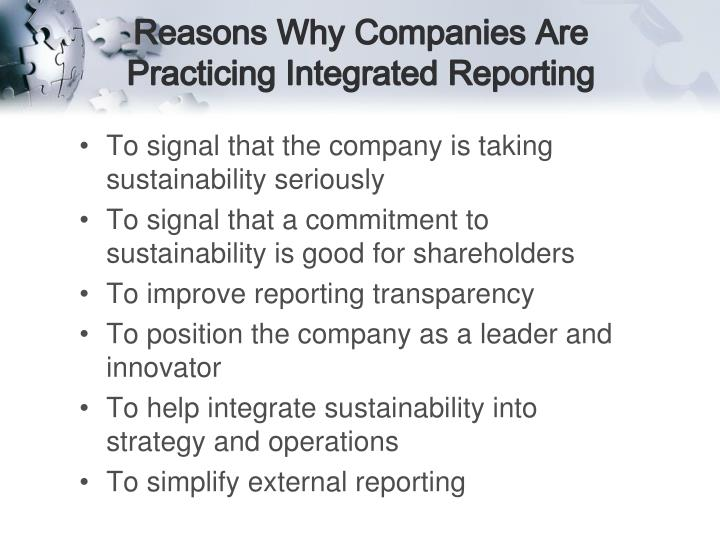 Reasons Why Companies Are Practicing Integrated Reporting