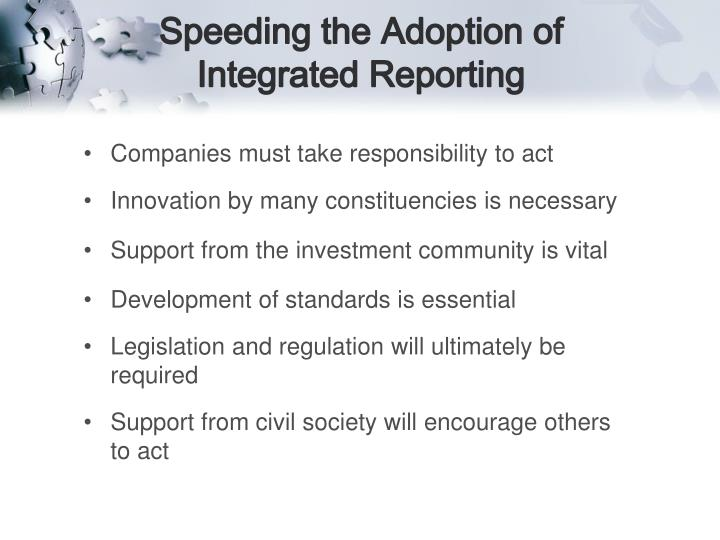 Speeding the Adoption of Integrated Reporting