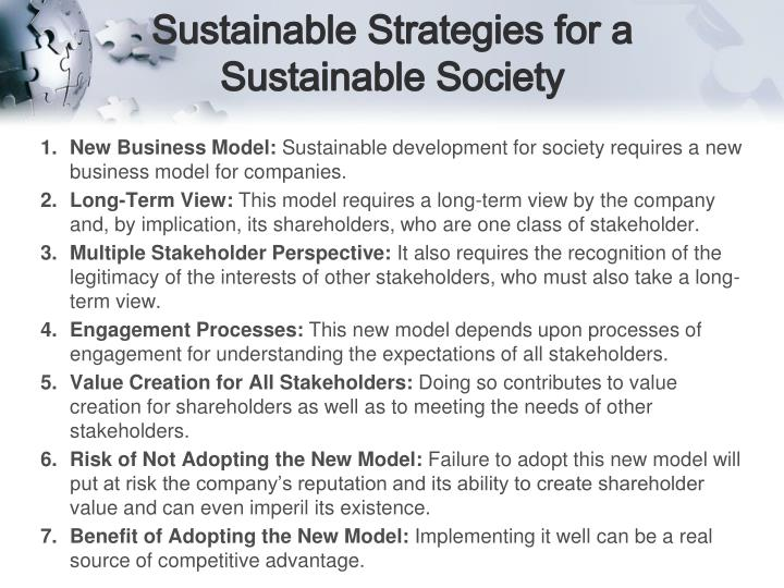 Sustainable Strategies for a