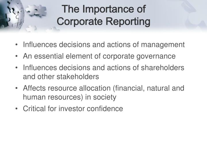The importance of corporate reporting