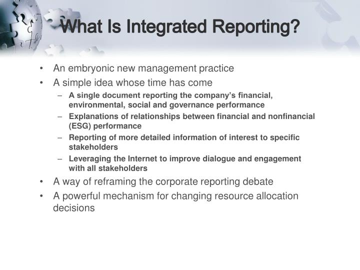 What is integrated reporting