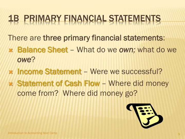 1B  Primary financial statements