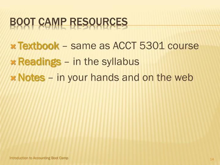 Boot camp resources