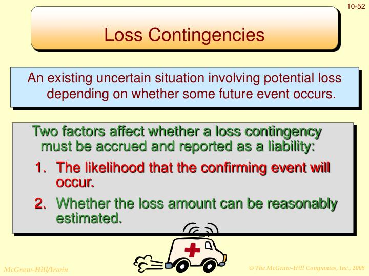 An existing uncertain situation involving potential loss depending on whether some future event occurs.