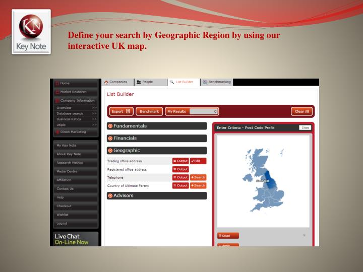 Define your search by Geographic Region by using our interactive UK map.