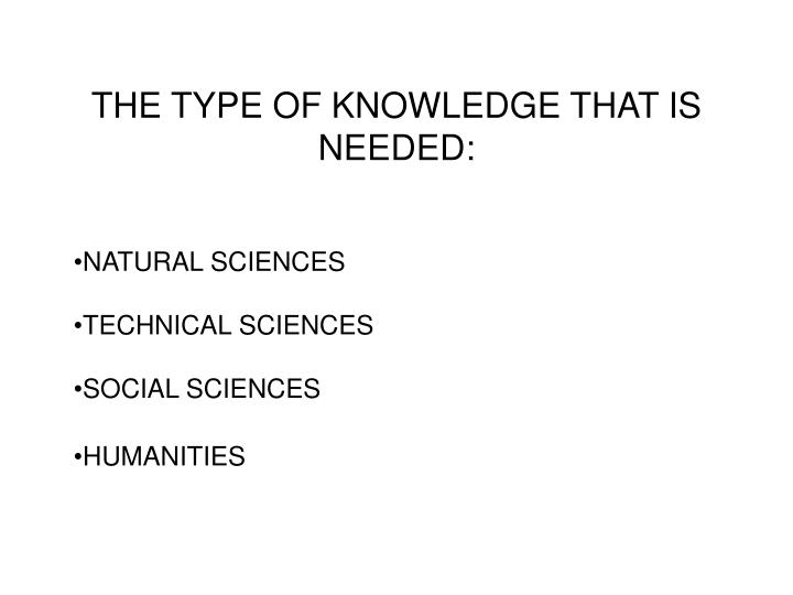 THE TYPE OF KNOWLEDGE THAT IS NEEDED: