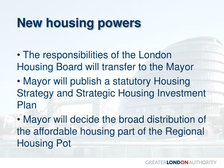 New housing powers