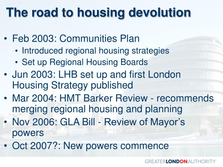 The road to housing devolution