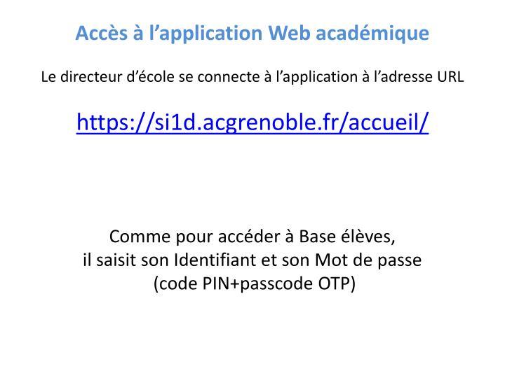 Accès à l'application Web académique