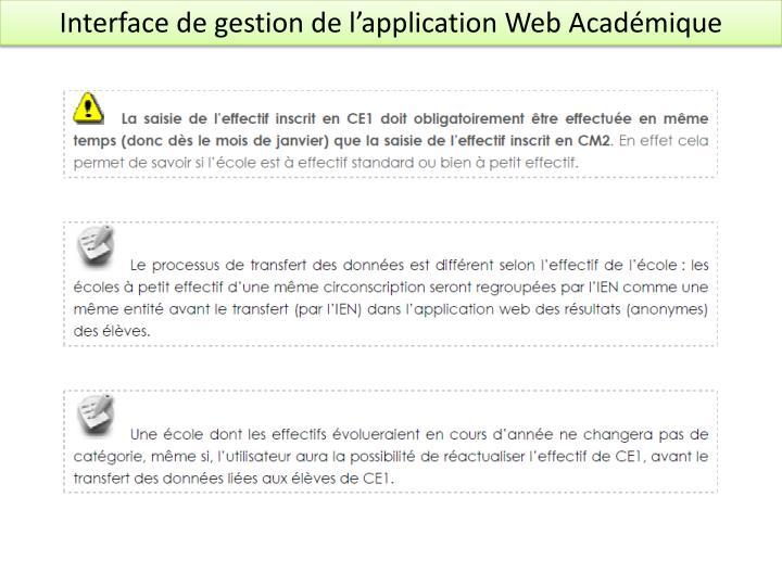 Interface de gestion de l'application Web Académique