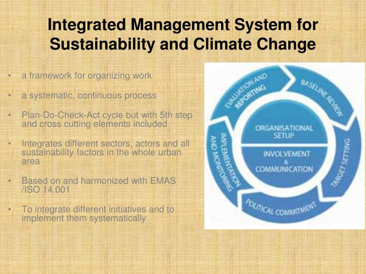 Integrated Management System for Sustainability and Climate Change