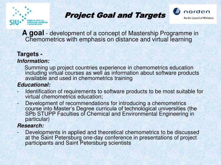Project Goal and Targets