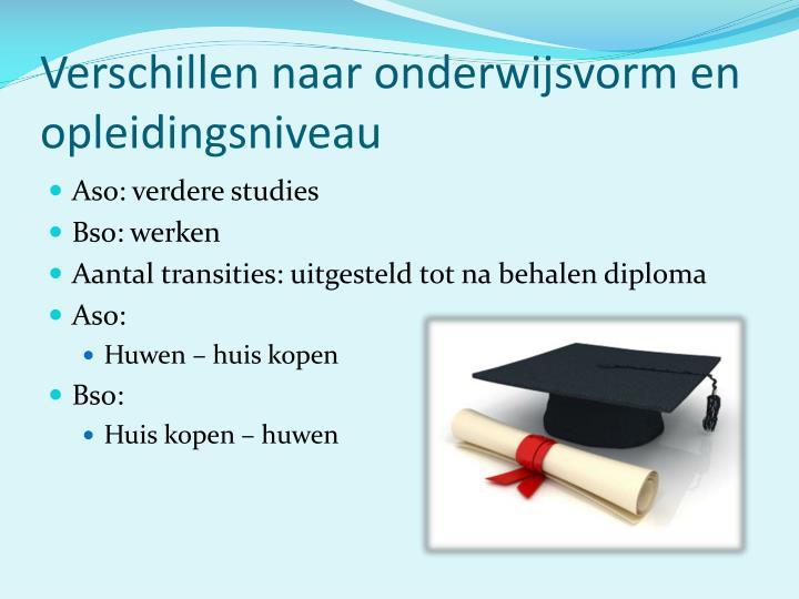 Verschillen naar onderwijsvorm en opleidingsniveau