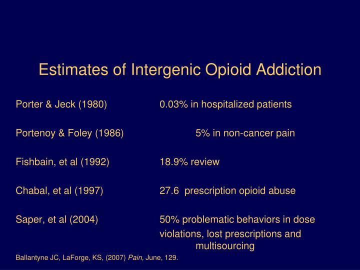 Estimates of Intergenic Opioid Addiction