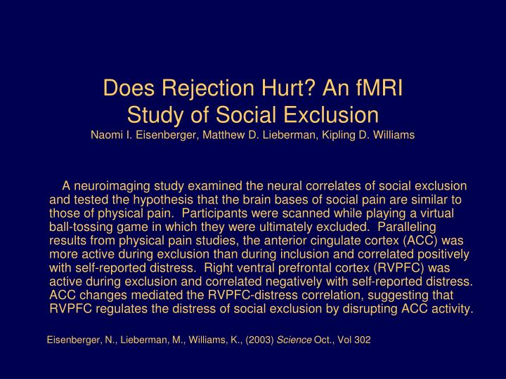 Does Rejection Hurt? An fMRI