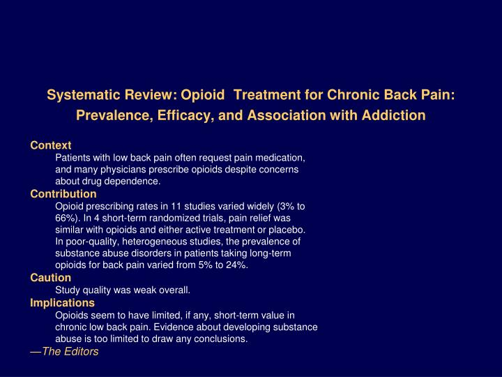 Systematic Review: Opioid