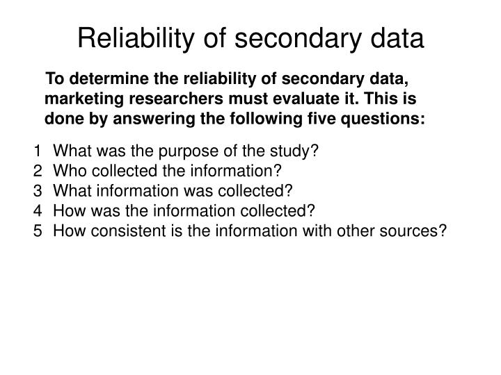 Reliability of