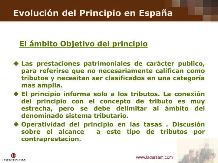 El ámbito Objetivo del principio