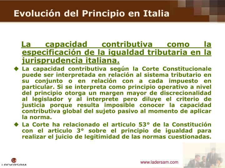La capacidad contributiva como la especificación de la igualdad tributaria en la jurisprudencia italiana.