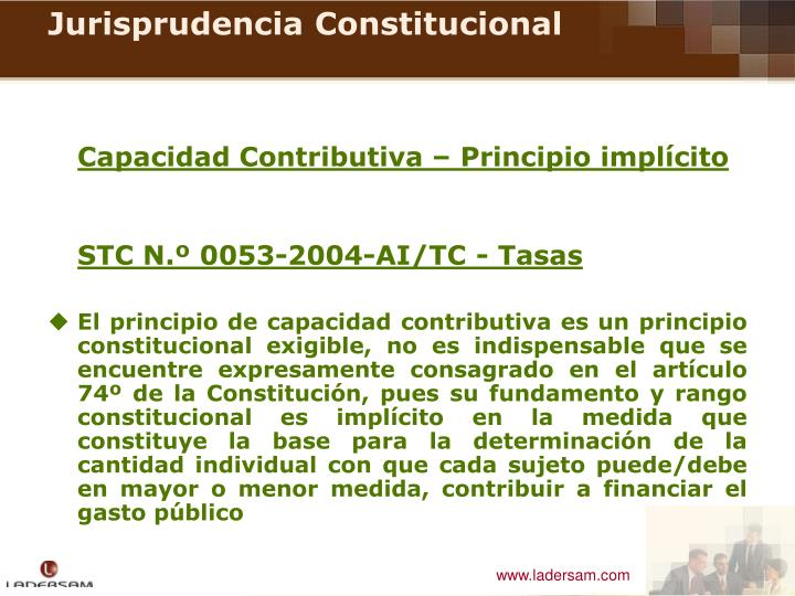 Capacidad Contributiva – Principio implícito