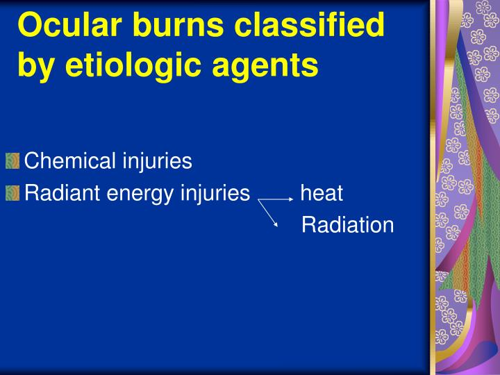 Ocular burns classified by etiologic agents