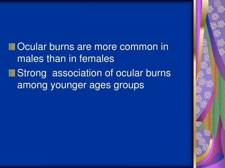 Ocular burns are more common in males than in females