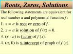 roots zeros solutions