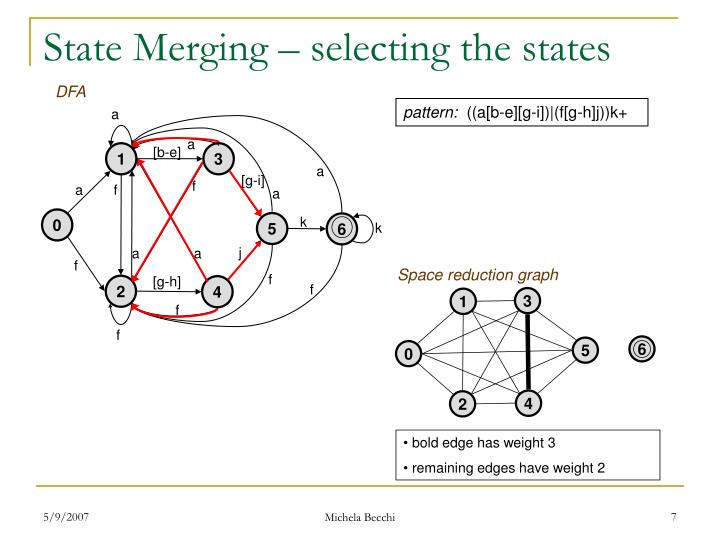 State Merging – selecting the states