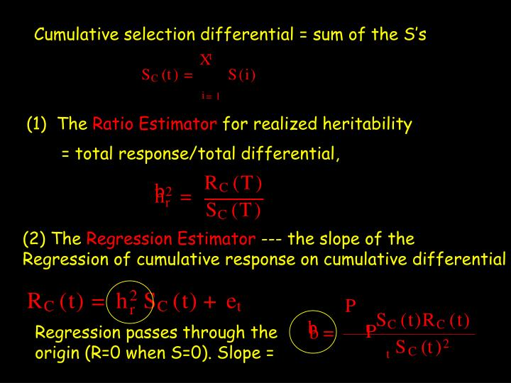 Cumulative selection differential = sum of the S's