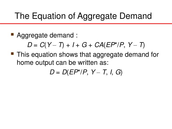 The Equation of Aggregate Demand