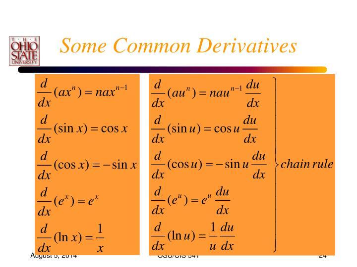 Some Common Derivatives