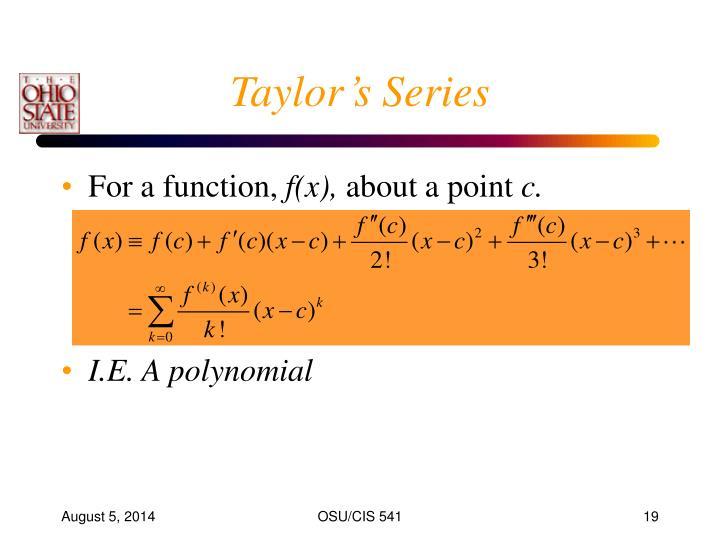 Taylor's Series
