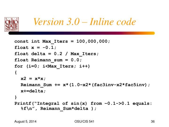 Version 3.0 – Inline code
