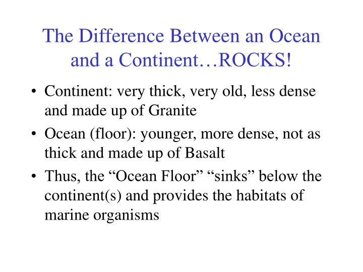 The Difference Between an Ocean and a Continent…ROCKS!