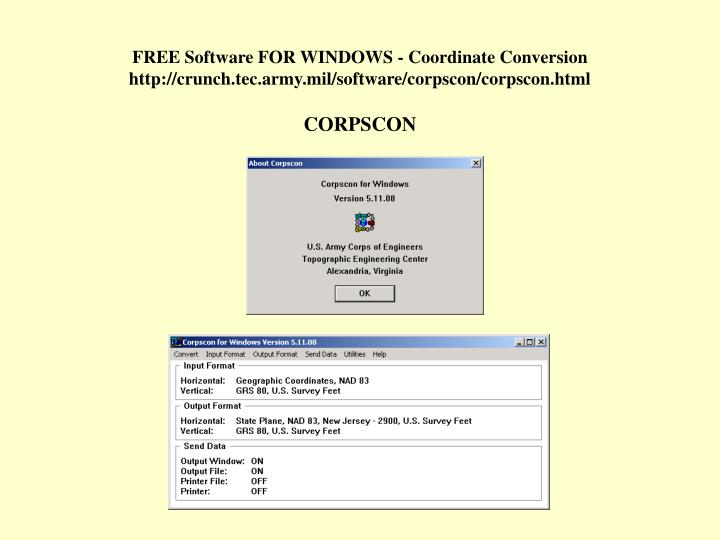 FREE Software FOR WINDOWS - Coordinate Conversion