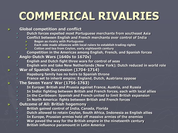 COMMERICAL RIVALRIES