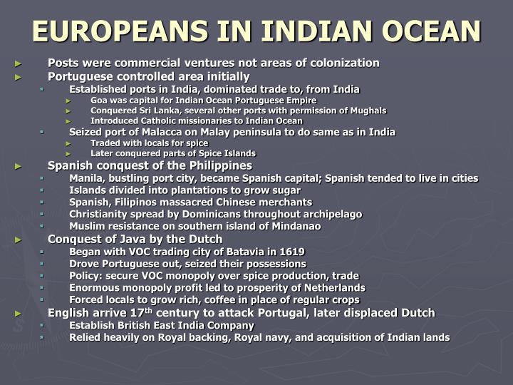 EUROPEANS IN INDIAN OCEAN
