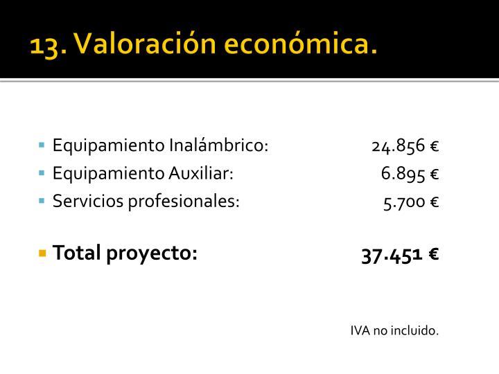 13. Valoración económica.