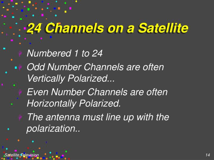 24 Channels on a Satellite