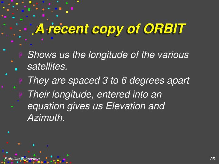A recent copy of ORBIT