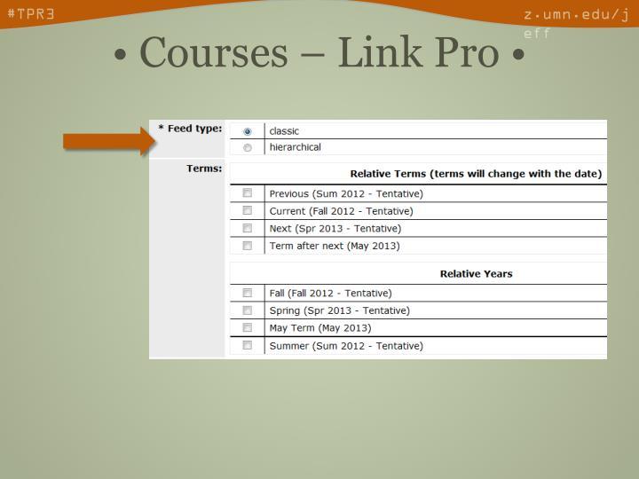 • Courses – Link Pro •
