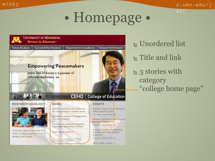 • Homepage •