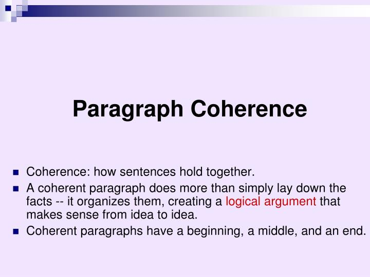 Paragraph Coherence