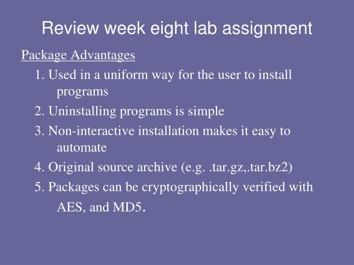Review week eight lab assignment