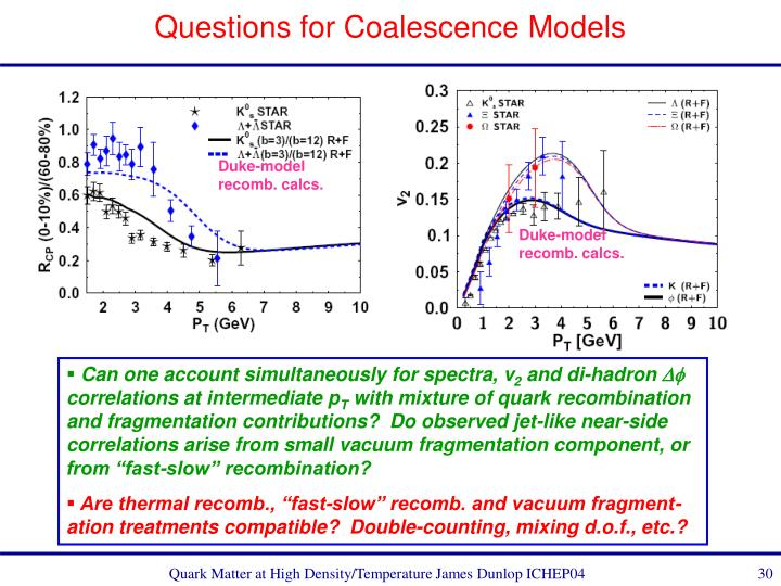 Questions for Coalescence Models