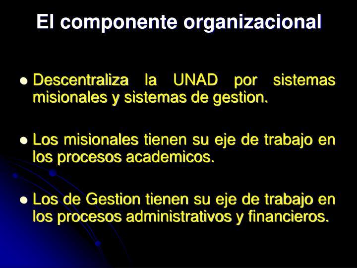 El componente organizacional