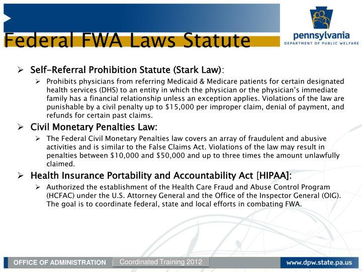 Self-Referral Prohibition Statute (Stark Law)