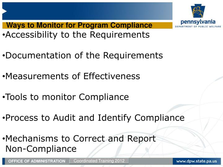 Ways to Monitor for Program Compliance